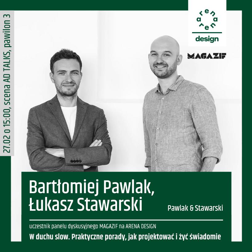czarno białe zdjęcie Bartłomieja Pawlaka iŁukasza Stawarskiego uczestników panelu MAGAZIF na arena design 2020