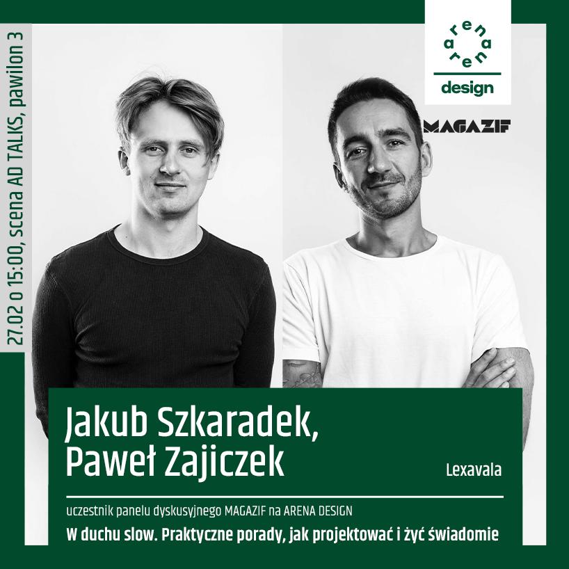 czarno białe zdjęcie Jakuba Szkaradka iPawła Zajiczka uczestników panelu MAGAZIF na arena design 2020