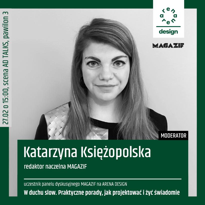 czarno białe zdjęcie Katarzyny Księżopolskiej prowadzącej panel MAGAZIF na arena design 2020