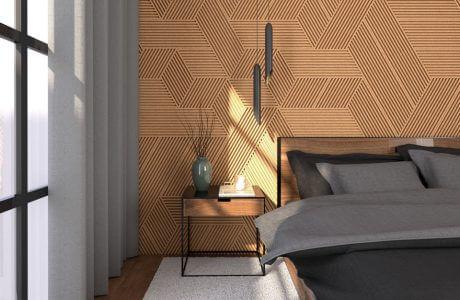 pokój panele ścienne 3D stripe z korka