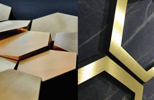 przestrzenne panele ścienne wykończone metalem