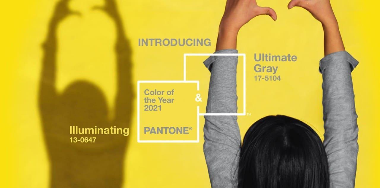 plakat kolor roku pantone 2021 żółty szary