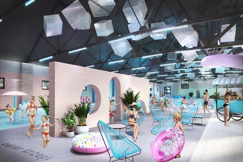 wnętrze Cukrownia Żnin Parku Industrialnego projektu MIXD basen zbeżową ścianką