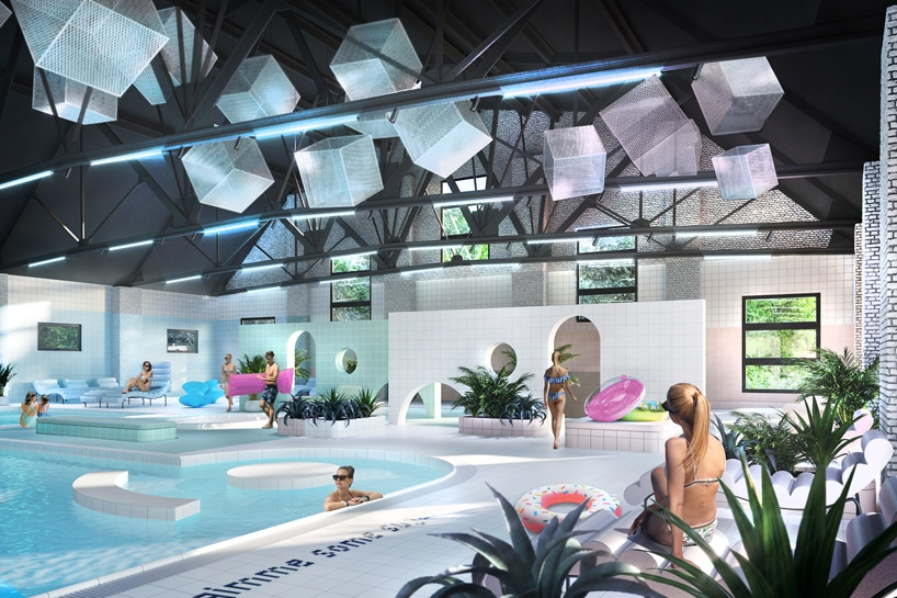 wnętrze Cukrownia Żnin Parku Industrialnego projektu MIXD basen zbiałymi kafelkami idużymi kostkami cukru pod sufitem