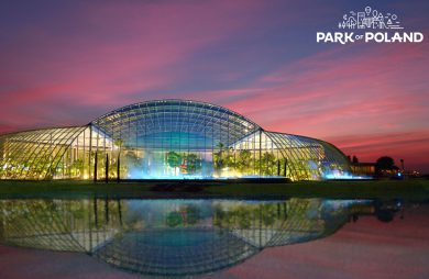 wizualizacja parku wodnego Park Of Poland przeszklone wejście nocą