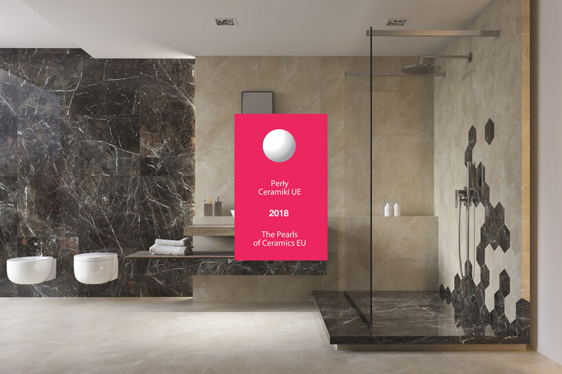 aranżacja dużej łazienki zbrązowymi ibezowymi płytkami