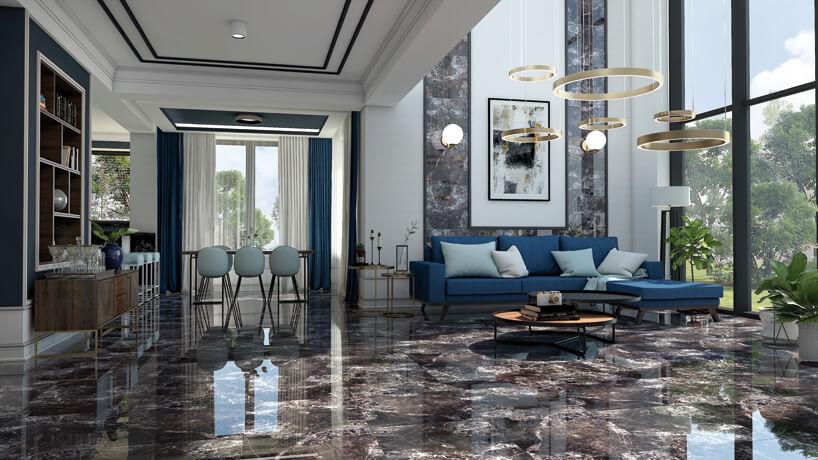 duży salon zmarmurową podłogą