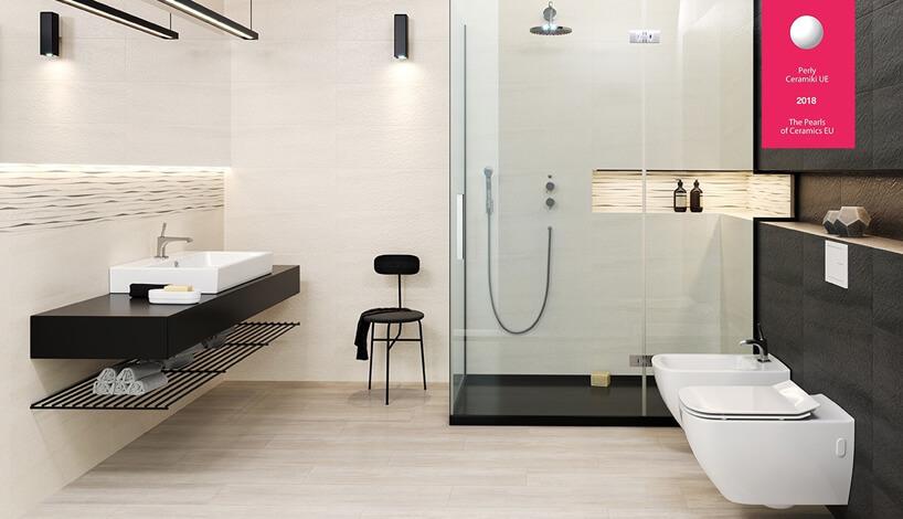 jasno beżowa łazienka zciemnym wykończeniami