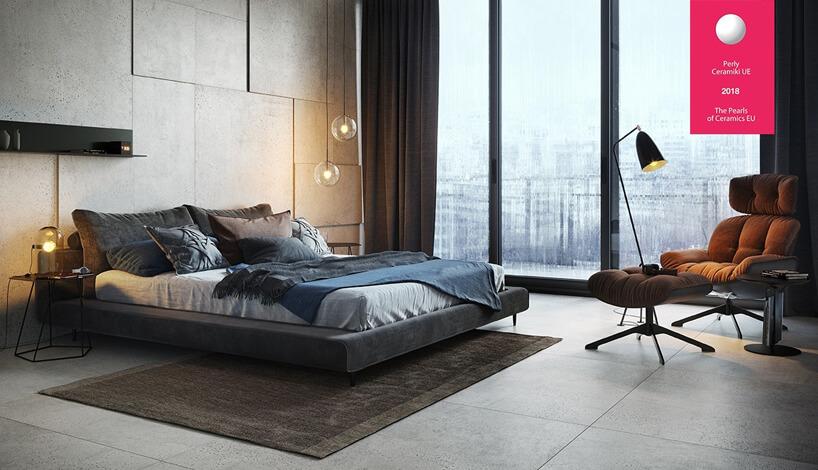 duża sypialnia zwysokimi oknami idużymi płytkami na ścianie