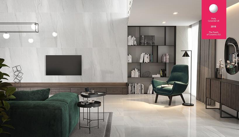 salon zjasnym płytkami na ścianie ipodłodze
