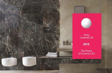 aranżacja dużej łazienki z brązowymi i beżowymi płytkami nagrodzona Perłą Ceramiki UE 2018