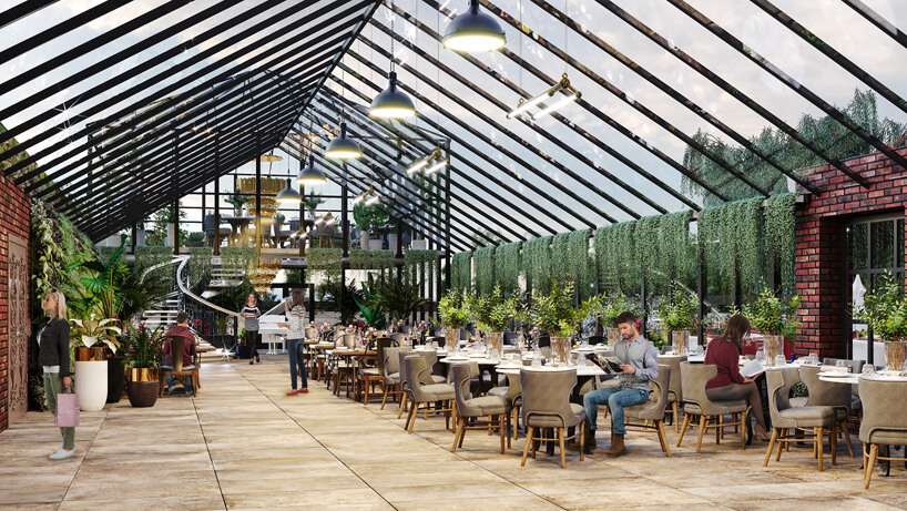 projekt wnętrza wpięciogwiazdkowym hotelu wŁodzi ze skośnym szklanym dachem