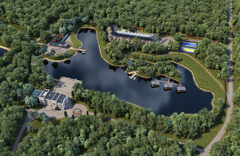 wizualizacja projektu pięciogwiazdkowego hotelu wŁodzi nad małym jeziorem