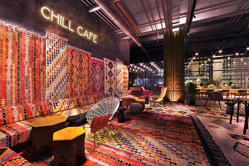lobby hotelu ibis Styles Sarajewo wykończonej wielobarwnymi dywanikami
