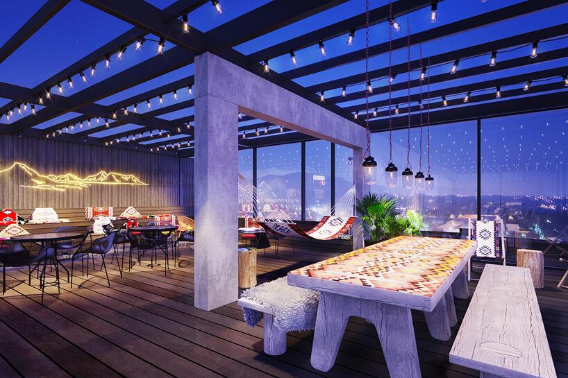 Skybar wibis Styles wSarajewie zdużym białym stołem
