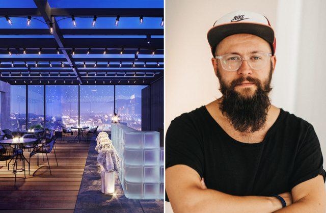 Piotr Kalinowski obok projektu wnętrza baru
