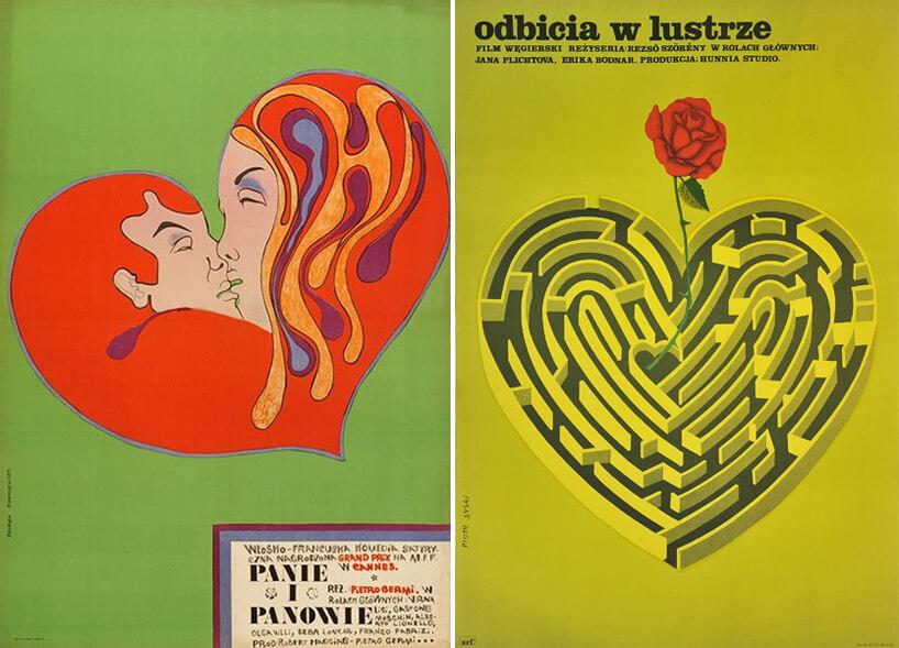 dwa plakat zmotywem serca