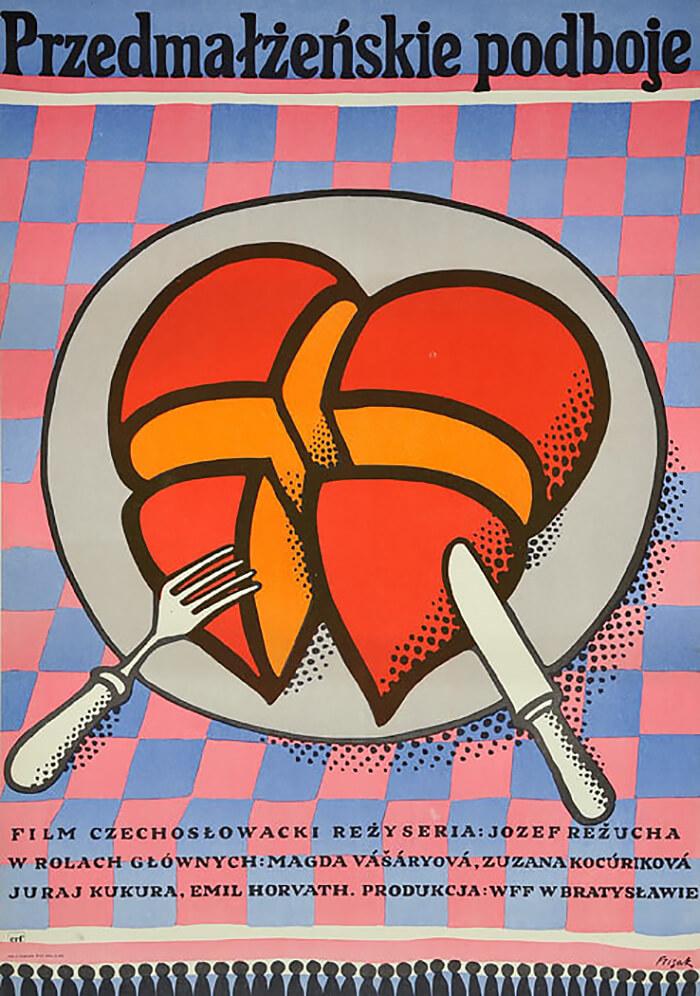 plakat zpokrojonym sercem na talerzu