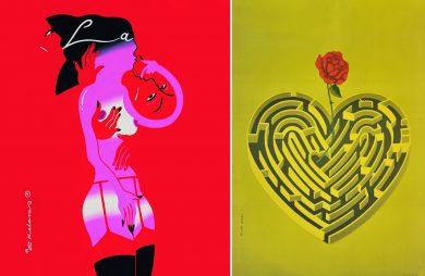 dwie koncepcje na plakat o miłości
