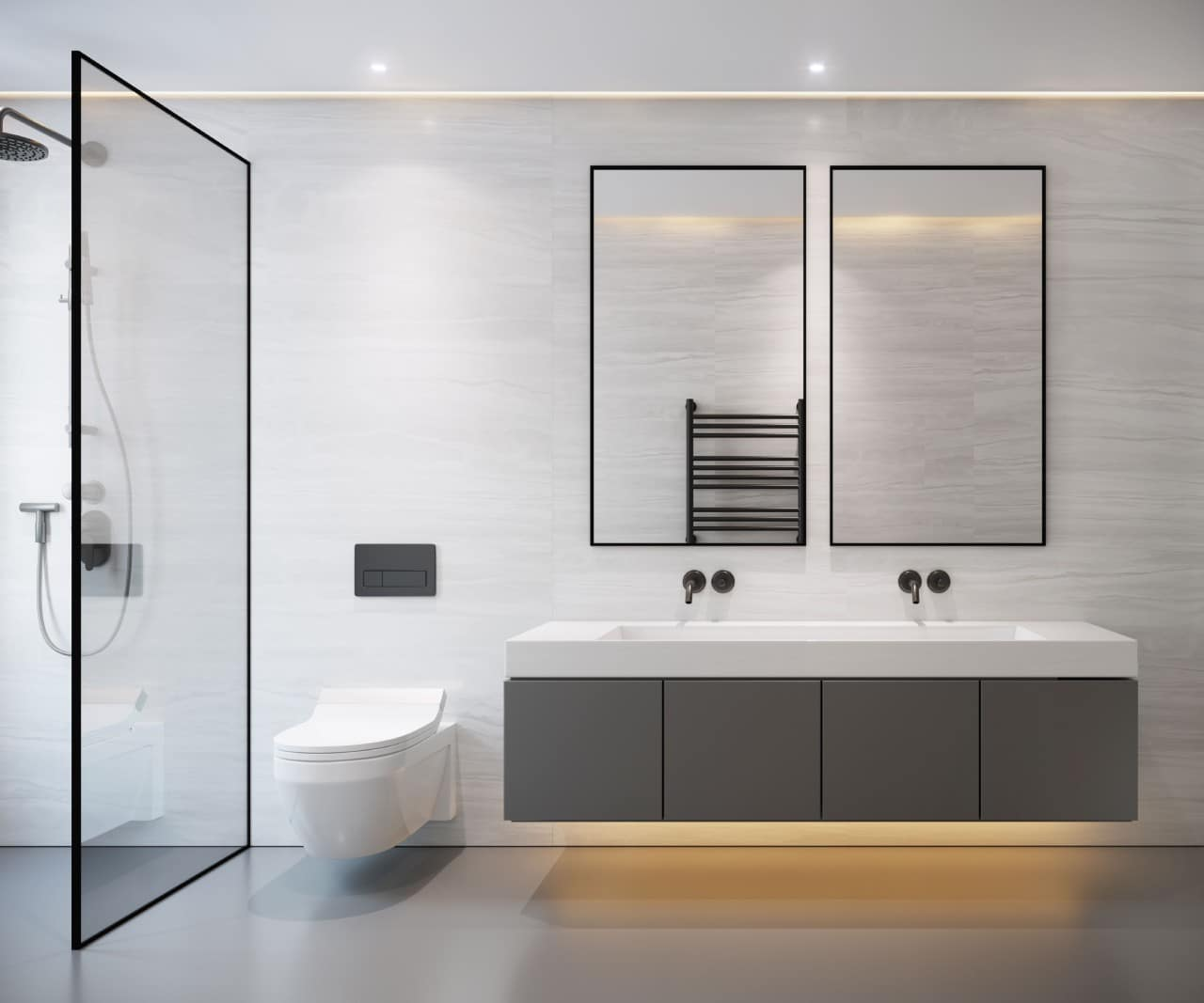 szara łazienka zprysznicem wc idwoma lustrami nad umywalką zpodświetleniem