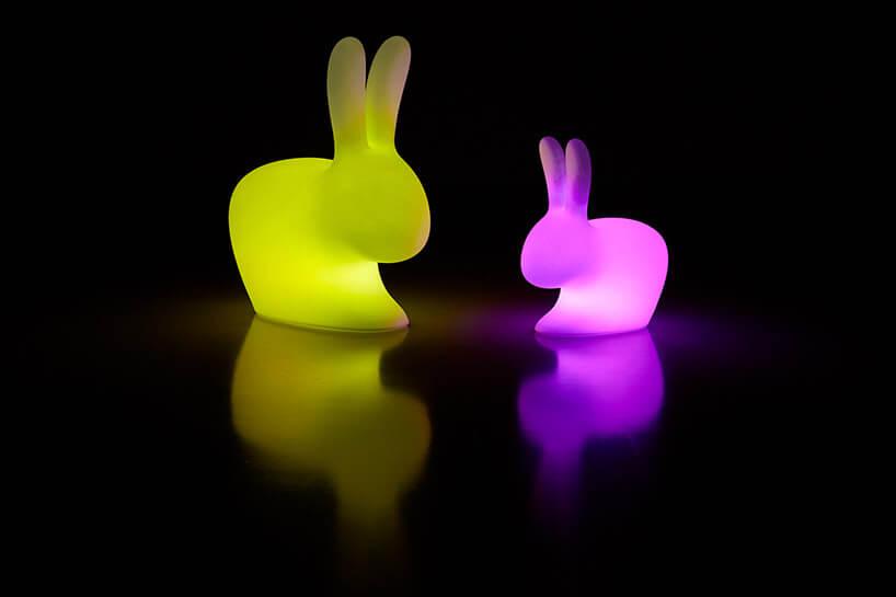 żółty ifioletowy świecący królik