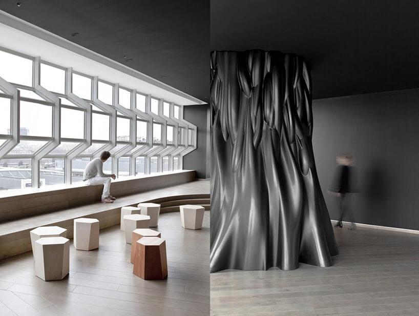plastikowe drzewo znowoczesnymi oknami