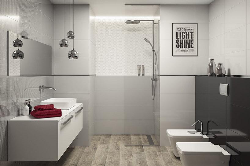 biało-szara łazienka zpłytkami Grace zParadyża