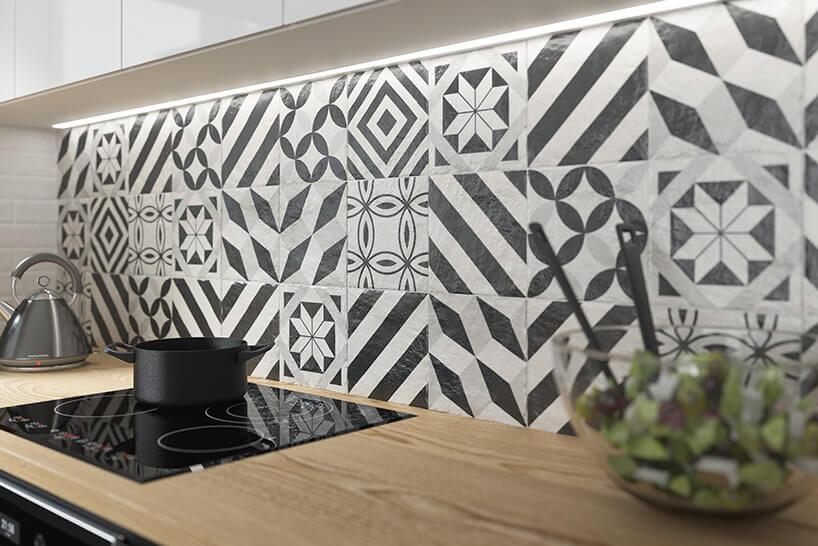 ściana nad blatem kuchennym wpłytkach Modern zParadyża