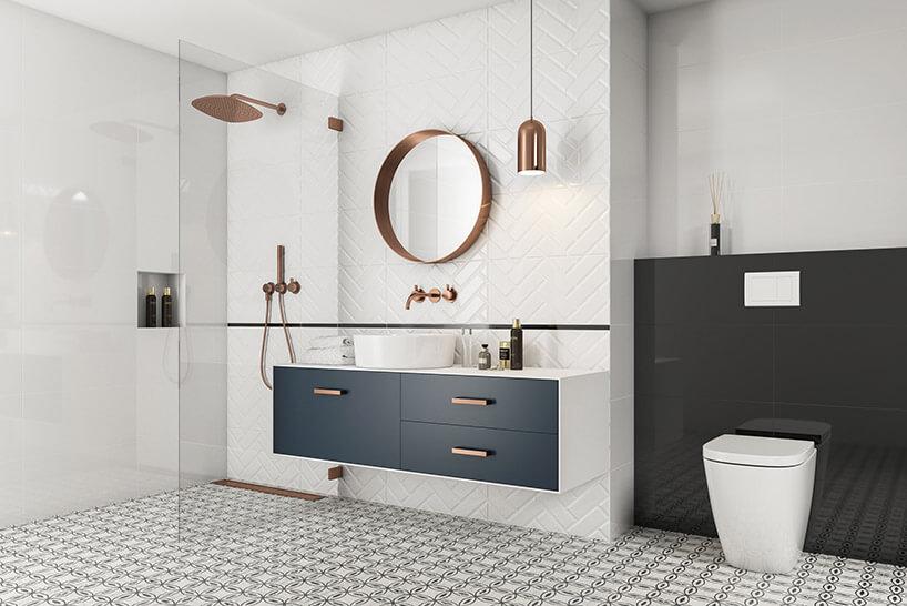 jasna łazienka zczarno-białą podłogą zpłytkami Moonlight zParadyża