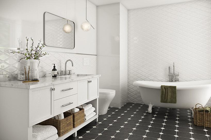 łazienka zczarno-białą podłogą zpłytkami Moonlight zParadyża