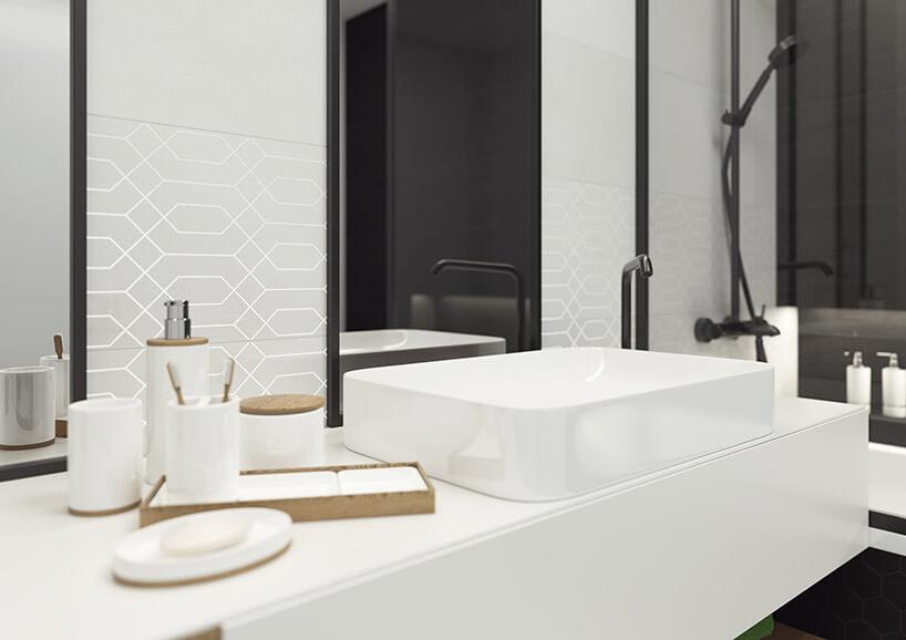 umywalka wbiałej łazience zpłytkami Taiga zParadyża