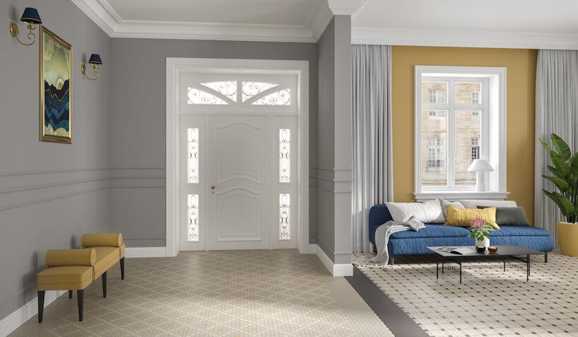 wnętrze domu zbiałymi drzwiami wejściowymi ipłytkami ceramicznymi gorsecik od Ceramiki Paradyż wtrzech wersjach