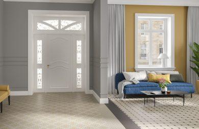 wnętrze domu z białymi drzwiami wejściowymi i płytkami ceramicznymi gorsecik od Ceramiki Paradyż w trzech wersjach