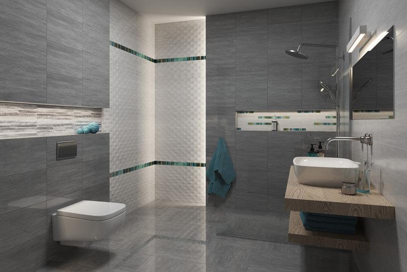 umywalka na drewnianej półce wszarej łazience