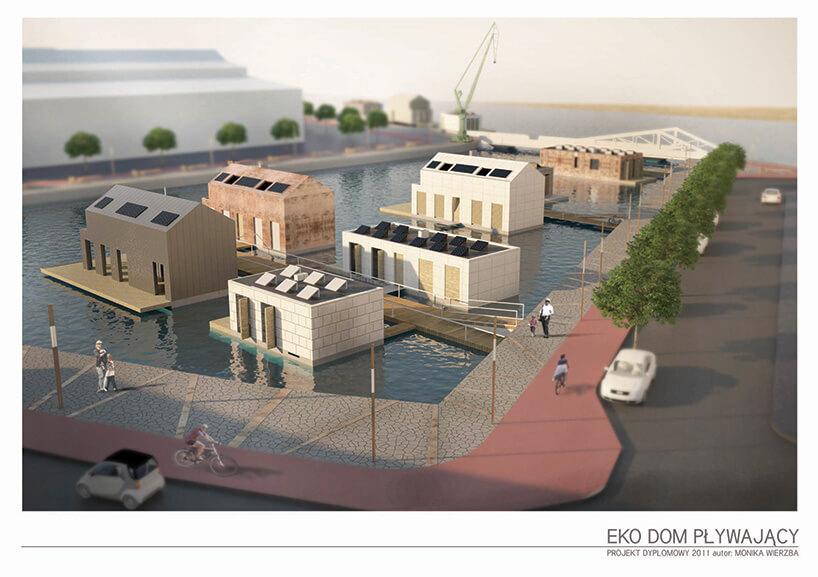 wizualizacja kilku pływających domów