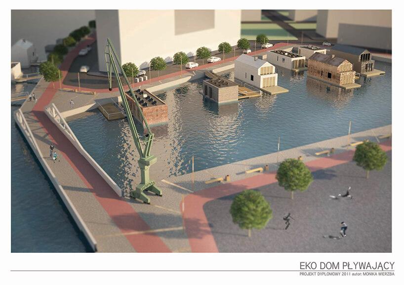 wizualizacja pływających domów obok stoczniowych żurawi