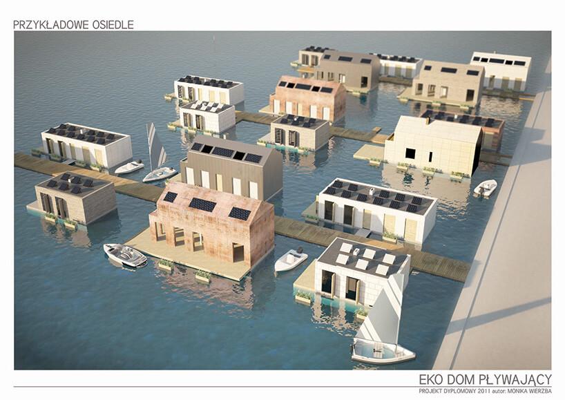 wizualizacja przystani pełnej pływających domów wizualizacja aranżacji pływającego domu Moniki Wierzby