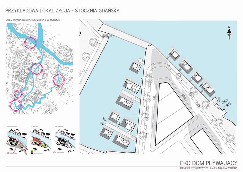 plan rozmieszczenia pływających domów Moniki Wierzby