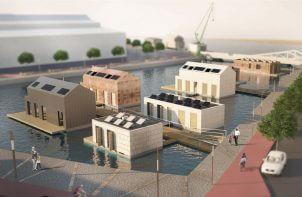 wizualizacja dzielnicy pływających domów
