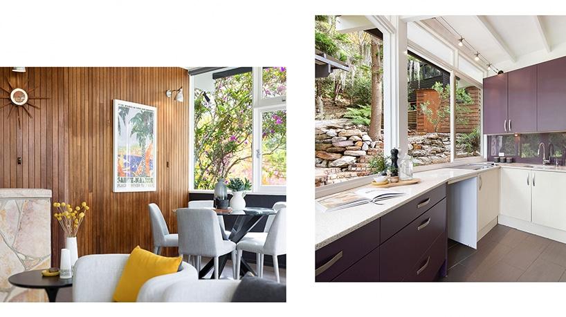 salon ze ścianą pokrytą deskami oraz kuchnia zszafkami wkolorze brązu zbiałym blatem