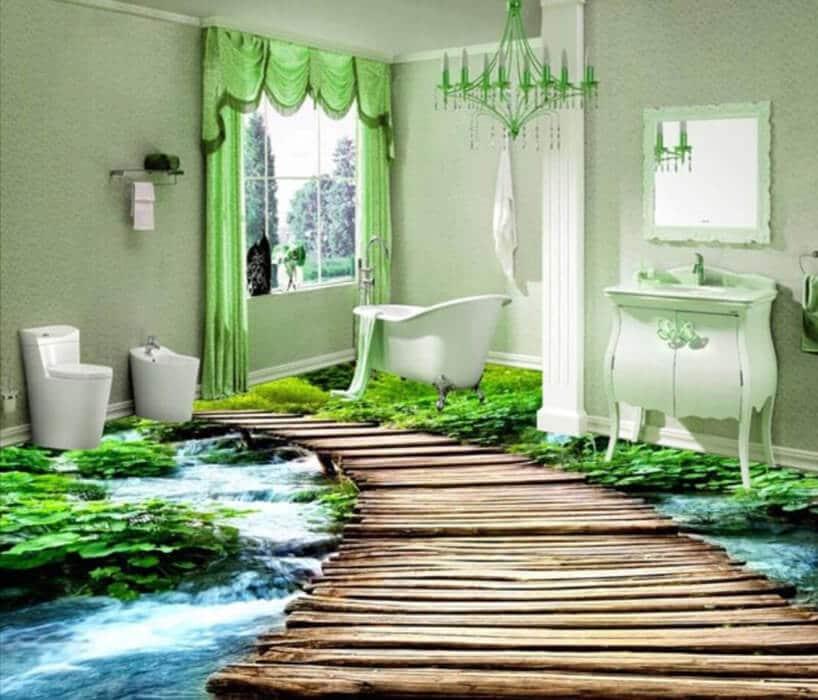 pomieszczenie zdrewnianą kłodką oraz zielonymi roślinami