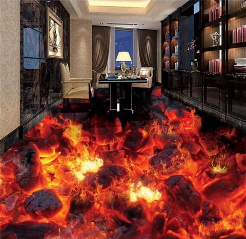 gabinet zpodłogą zgrafiką płomieni oraz ognia iczarnymi witrynami