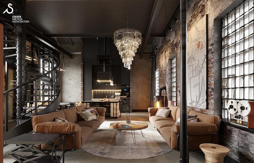 ciemne wnętrze zskórzanymi kanapami industrialnymi kręconymi schodami oraz czerwoną cegłą na ścianach
