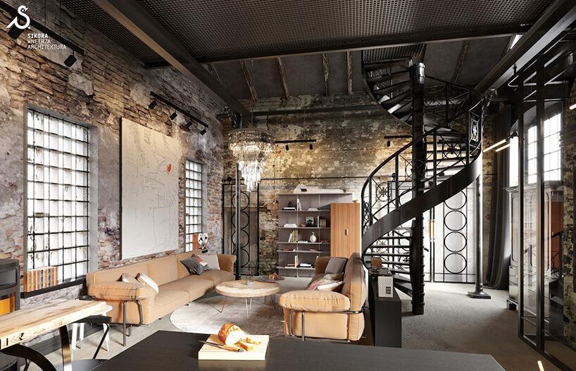 industrialne czarne kręcone metalowe schody przy jasnych kremowych kanapach skórzanych przy drewnianym okrągłym stoliku