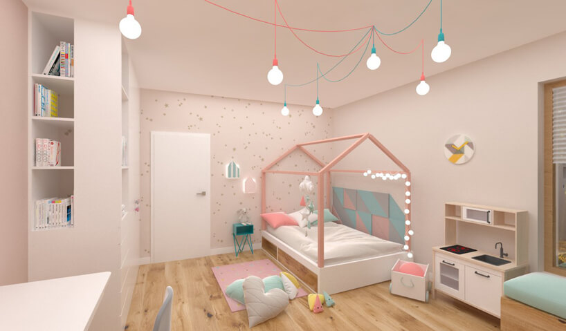 projekt różowego pokoju dla dziewczynki złóżkiem domkiem od Hamak.pro