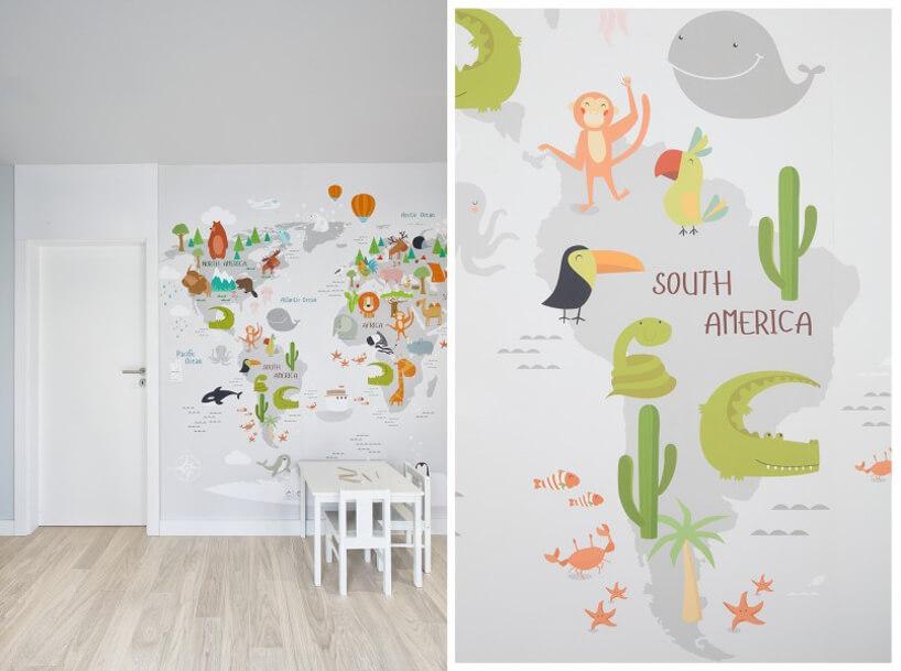 wyjątkowa tapeta do pokoju dziecka zmapą kontynentów izwierzętami