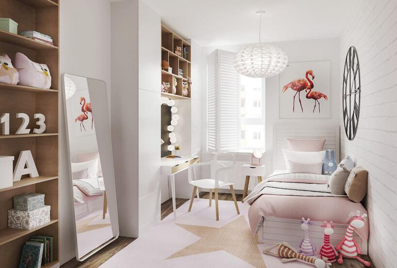 biało-różowy pokój dla dziewczynki ze stojącym lustrem