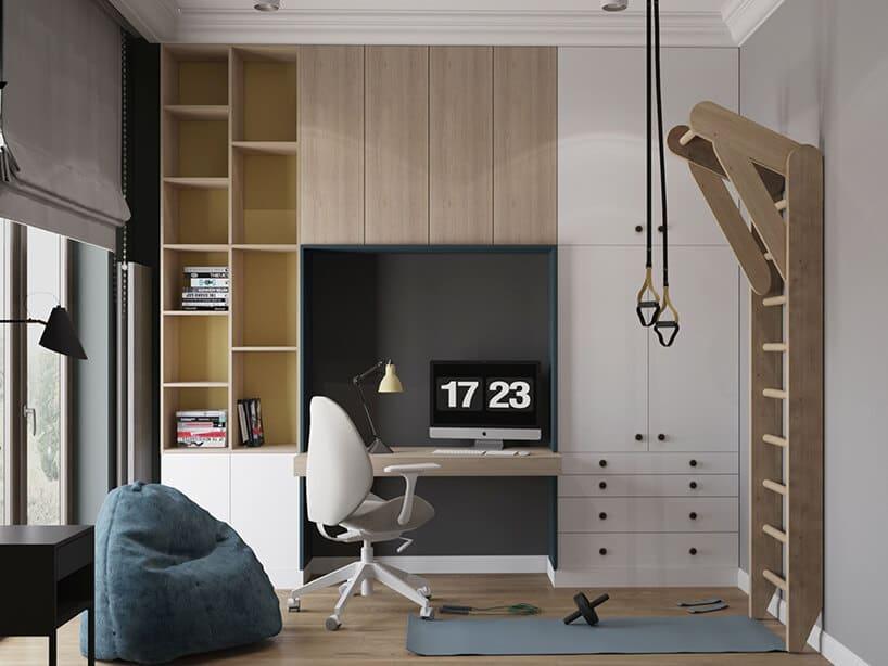 połączenie białych frontów wraz zjasnymi drewnianym wpokoju zdrabinką na ścianie