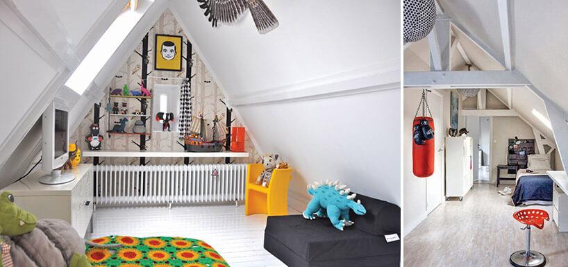 design pokoju dla chłopca na poddaszu