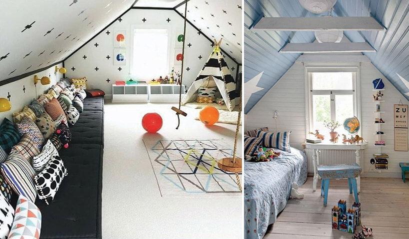 biało czarny ibłękitno białe pokoje dla dzieci na poddaszu